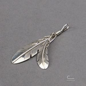 Self Edge SE Silver Double Feather Necklace
