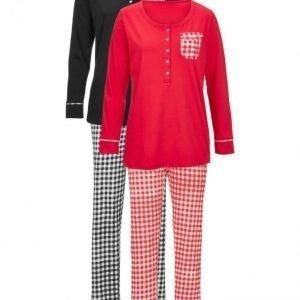 Simone Pyjama 2-Pakkaus Punainen / Ecru / Musta