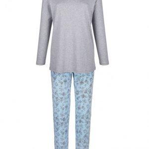 Simone Pyjama Meleerattu Harmaa / Vaaleansininen