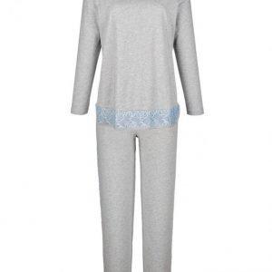 Simone Pyjama Meleerattu Harmaa / Vaaleansininen / Valkoinen