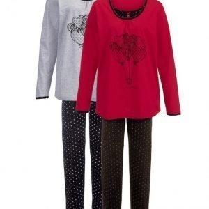 Simone Pyjama Musta / Punainen / Harmaa