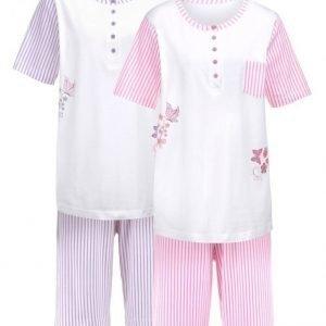 Simone Pyjama Valkoinen / Syreeni / Liila / Pinkki