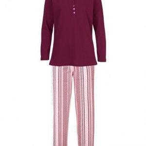 Simone Pyjama Viininpunainen / Vanharoosa / Ecru