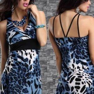 Sininen leopardikuvioinen printtiminimekko