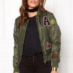 Sisters Point Lusa Patch Bomber Jacket Olive Green