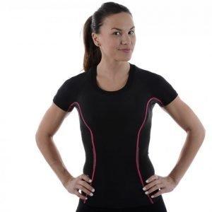 Skins A200 Womens Top Short Sleeve Kompressiopaita Musta / Roosa