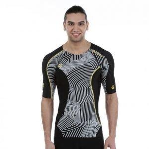 Skins Dnamic Top Short Sleeve Kompressiopaita Musta / Valkoinen