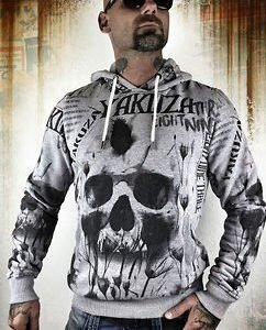 Skull Allover Hoodie Grey