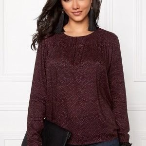 Soaked In Luxury Brook Star Blouse LS Navy with Brick