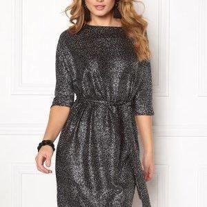 Soaked In Luxury Miriam Dress Black w silver foil