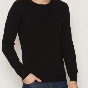 Solid Gyden Knit Pusero Black