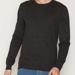 Solid Gyden Knit Pusero Dark Grey Melange