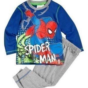 Spiderman Pyjama Tummansininen Mel. harmaa