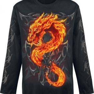 Spiral Fire Dragon Pitkähihainen Paita