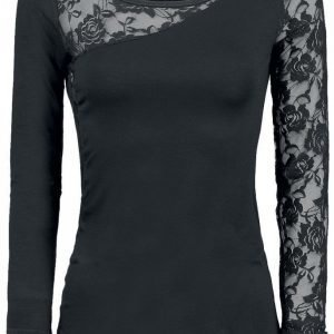 Spiral Lace Shoulder Naisten Pitkähihainen Paita