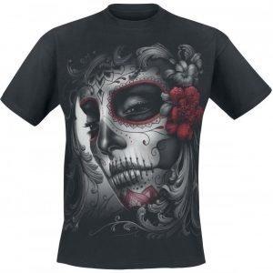 Spiral Skull Roses T-paita
