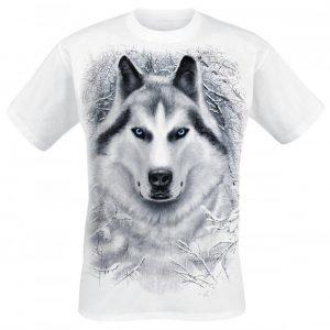 Spiral White Wolf T-paita