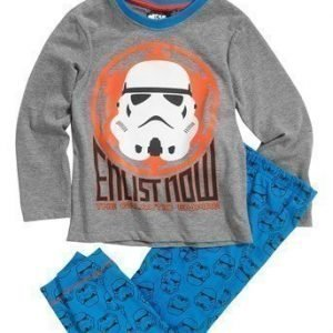 Star Wars Pyjama Mel. harmaa Sininen