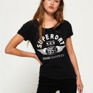 Superdry 1954 Brand Goods Slim Boyfriend T-paita Musta