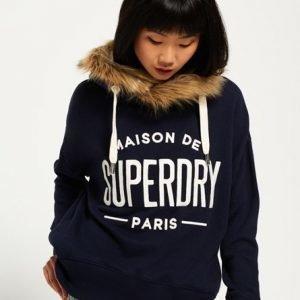 Superdry Applique Fur Slouch Huppari Laivastonsininen