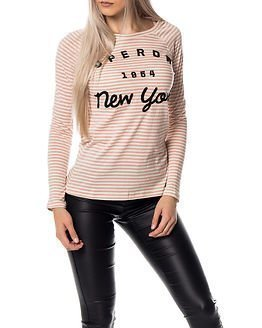 Superdry Applique Raglan L/S Tee Blush Pink/Cream