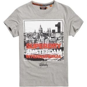 Superdry Box Photo City Amsterdam T-paita Vaaleanharmaa