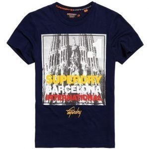 Superdry Box Photo City Barcelona T-paita Laivastonsininen