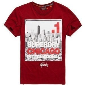 Superdry Box Photo City Chicago T-paita Punainen
