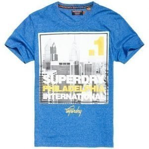 Superdry Box Photo City Philadelphia T-paita Sininen