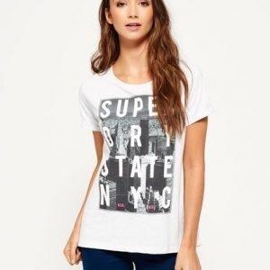 Superdry Boyfriend Mallinen Nyc State T-paita Vaaleanharmaa
