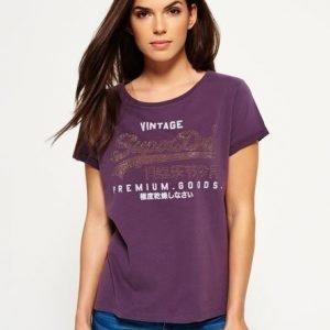 Superdry Boyfriend Mallinen Premium Goods Jewel T-paita Purppura