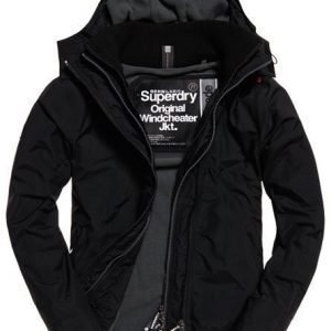 Superdry Pop Zip Arctic Windcheater Hupputakki Musta