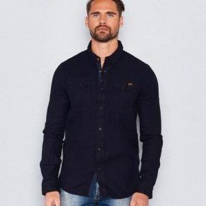 Superdry Roster Denim Shirt Indigo Heringbone