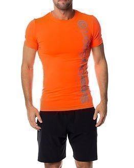 Superdry Sport Gym Base Logo Runner Tee Fluro Orange