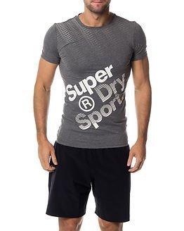 Superdry Sport Gym Base Sprint Runner Tee Grey Grit