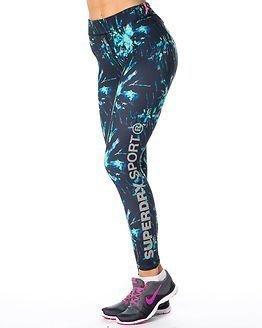 Superdry Sport Gym Logo Legging Electric Storm