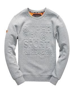 Superdry Sport Gym Tech Embosesed Crew Grey Grit
