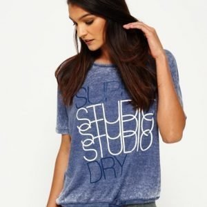 Superdry Studio Burnout Ribbipaita Laivastonsininen
