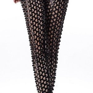 Svart Fish Scale Pierced Holes Leggings
