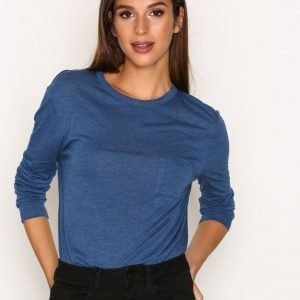 T By Alexander Wang Cropped Long Sleeve Tee W / Chest Pocket Pitkähihainen Paita Ocean