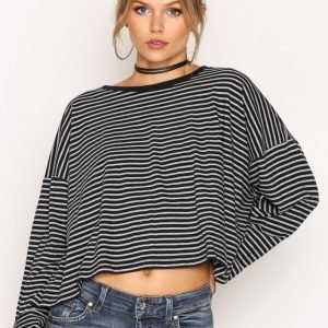 T By Alexander Wang L / S Drop Shoulder Tee Pitkähihainen Paita Stripes