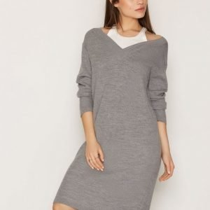 T By Alexander Wang Merino Pullover Dress Loose Fit Mekko Heather Grey