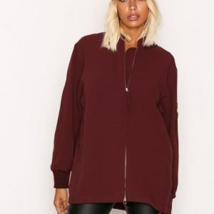 T By Alexander Wang Satin Back Crepe L / S Welded Bomber Takki Burgundy