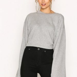 T By Alexander Wang Tie-Back L / S Crop Sweatshirt Svetari Heather Grey