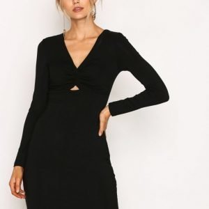 T By Alexander Wang Twist-Front Bracelet Slv Dress Kotelomekko Black