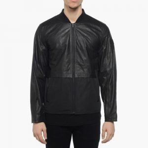 T by Alexander Wang Leather Nylon Bomber Jacket