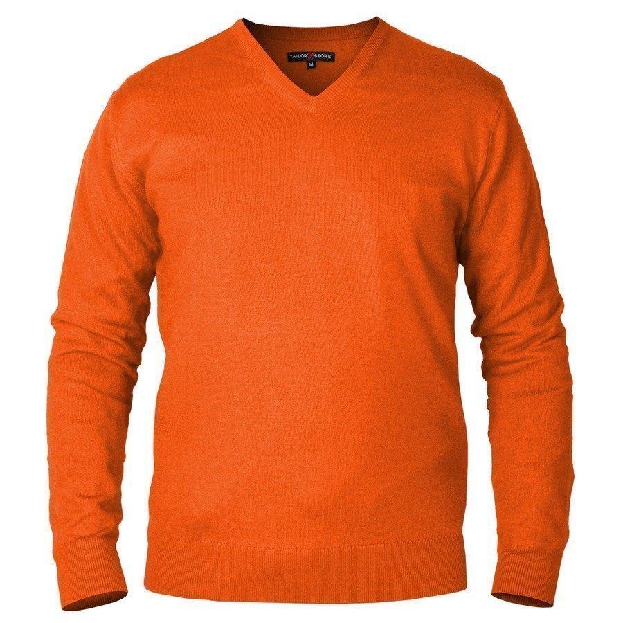Tailor Store Concord V Kaula Aukkoinen Neulepaita Pimapuuvillasta Oranssi