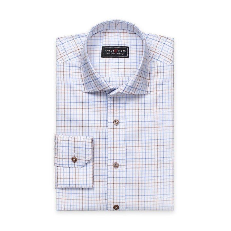 Tailor Store Oxford Paita Valko / Sini / Ruskearuudullinen