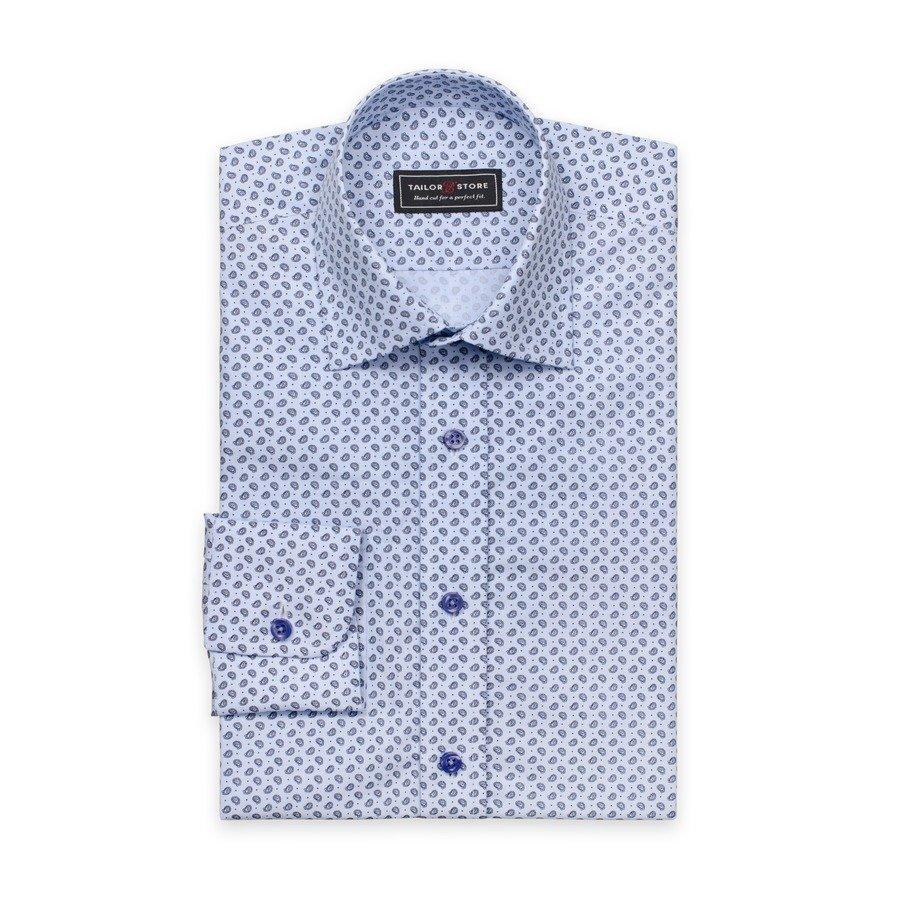 Tailor Store Paisleykuviollinen Popliinipaita Sininen
