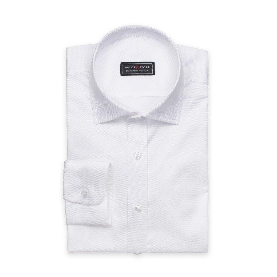 Tailor Store Paita Dobby Kudotusta Puuvillasta Valkoinen